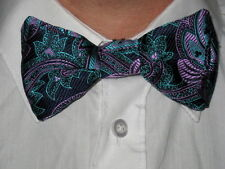 NEW Mens Silk Clip on Bow ties,purple,yellow,pink,black,check,spots,paisley,Gift