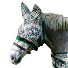 Derby Super Tough Horse Fly Mask with Ears Hunter Beige Plaid Select Any Size