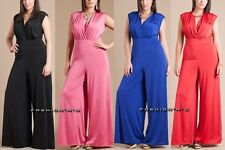 Plus Size Wide Leg Dress Jumpsuit High Waist Palazzo Pant Suit V-Neck Sleeveless