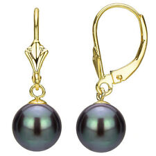 DaVonna 24k Gold over Silver Black FW Pearl Leverback Earrings (6-10 mm)