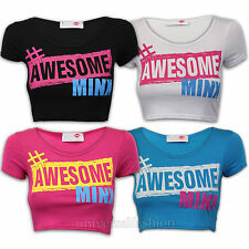 Girls Crop Top Kids T Shirt Awesome Minx Print Cap Sleeved Stretch Summer Casual