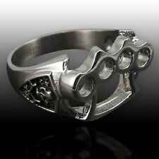 Stainless Steel Ring Brass Knuckle Duster silver skull punk goth rock gangster
