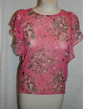 Sheer PINK FLORAL Shirt Butterfly Sleeve XS 0-2 S 4-6 M 8-10 XL 16-18