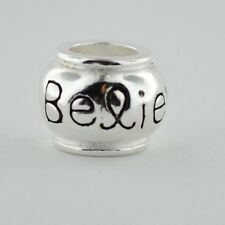 Sterling Silver European Charm Believe Breast Cancer Awareness Ribbon Bead 88084