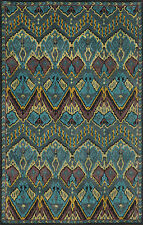 """AREA RUG - """"OTTOMAN EMPIRE"""" HAND TUFTED WOOL ACCENT RUG - PEACOCK BLUE"""
