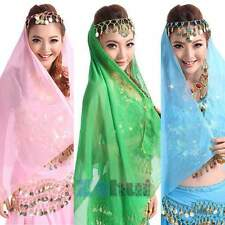 Belly Dance Chiffon Coins Face Veil Dancing Head Scarf Shawl Headpiece Costumes