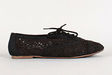 Crochet Lace Up Flat Round Toe Oxford Black Womens Casual Shoes Ballet Slip On
