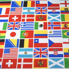 Around The World Country Flags Patchwork 100% Cotton Fabric