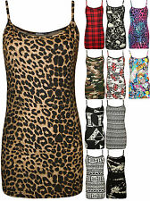 New Womens Print Ladies Sleeveless Strappy Stretch Long Cami Vest Tank Top 8-14