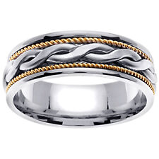 14K Two Tone White Yellow Gold Celtic Braid Wedding Ring Band 7mm (WJRL05314)