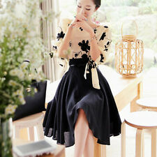 Occident Lady Chiffon 3/4 Sleeve Club Evening Party Tops Skirt Knee-Length Dress