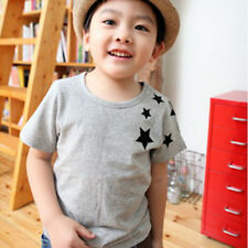 Children Kids Boys Korean Version Star Pattern Short-Sleeved Cotton T-shirt 2-7Y