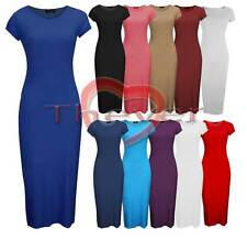 Bodycon Dress Women Cap Sleeves Midi Calf Length Size 6-20 Big Sizes