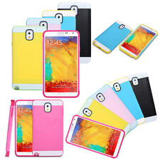 Multi Toned Hybrid Skin Hard Case Cover For Samsung Galaxy S5 S4 S3 Note3 Note2