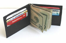 MEN Real LEATHER SPRING MONEY CLIP WALLET BIFOLD Plain Credit Card Holder NWT