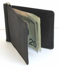 MEN's SOLID GENUINE LEATHER SPRING MONEY CLIP Front Pocket Plain BIFOLD WALLET