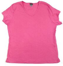 Ladies Hanes Silver For Her Shirt Fitted Combed Cotton V-Neck Tee Pink