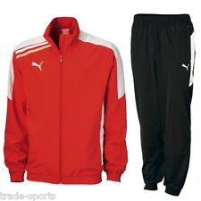 PUMA MENS ESITO POLY TRACKSUIT RED BLACK SIZE S M L XL XXL TRACK PANTS FITNESS