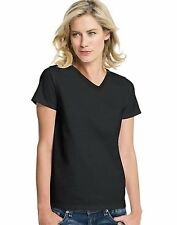 Hanes Women's Black Jersey V-Neck T-Shirts 2-Pack - 122062