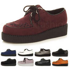 WOMENS LADIES FLAT PLATFORM WEDGE LACE UP GOTH PUNK CREEPERS SHOES BOOTS SIZE