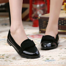 Retro School Oxfords Shoes Women's Ladies Plus size Flat Bowknot Slip on Loafers