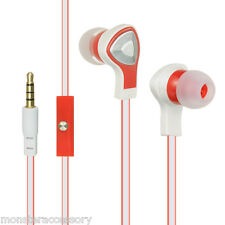 LM Earphones Red Hands Free Mic Headset 3.5mm Jack Earbuds For APPLE Cellphones