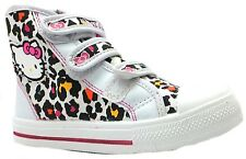Hello Kitty Peony Girl's White Leopard Print Velcro Hi Top Ankle Trainers New