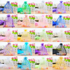 50 Drawable Organza Wedding Gift Bags&Pouches 13x16cm M0114