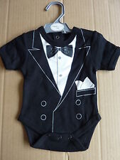 "BABY BOYS ONE PIECE POPPER VEST / OUTFIT ""TUXEDO LOOK""... SIZE 0-6 or 6-12 mths."