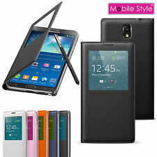 Leather Flip Case and Screen Protector for Samsung Galaxy Note 3 S View Cover