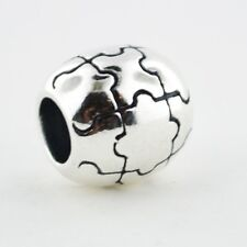 Sterling Silver 925 European Charm Autism Awareness Puzzle Piece Ball Bead 88844