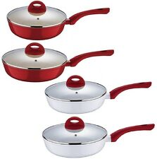Wellberg Red Non Stick Induction Deep Ceramic Frying Pan Saucepan Cooking LID