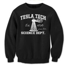 TESLA TECH funny science geek nikola humor rare auto retro MENS SWEATSHIRT BLACK