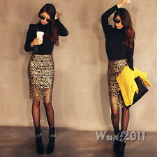Fashion Women Gold Crochet High Waist Hollow Party Cocktail Sexy Pencil Skirt M