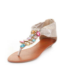 WOMENS LADIES GOLD GLITTER MULTI GEM JEWELLED FLAT SANDALS SHOES  SIZE 3-8