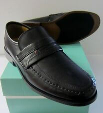 Clarks Slip On Shoes Mens Astute Drop Black Leather Fitting H Wide