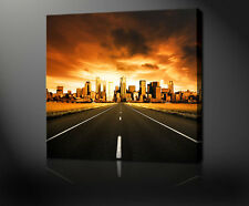 ROAD TO THE CITY MODERN DESIGN CANVAS PRINT MANY SIZES FREE UK POSTAGE