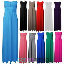 Womens Plus Size 16 18 20 22 24 26 Knot Bandeau Summer Jersey Maxi Long Dress
