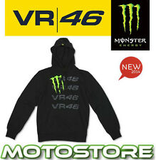 VR46 VALENTINO ROSSI MONSTER ENERGY CLAW BLACK HOODY FLEECE TOP LOGO OFFICIAL