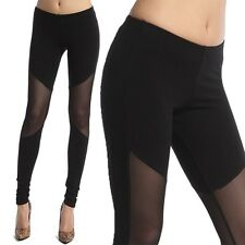 TheMogan Stretch Cotton And Mesh Panel Leggings