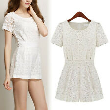 Sexy Women Celeb Lace cocktail party jumpsuit Shorts Dress Playsuit Romper White