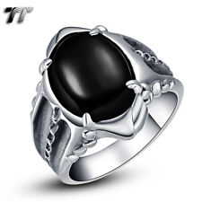 High Quality TT 316L Stainless Steel Ring With Oval Black Onyx Size 8-12 (RZ03)