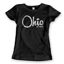 OHIO EST 1808 cool ohio buckeye football retro sports new WOMENS T-Shirt BLACK