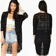 Women Lace Sheer Sleeve Floral Crochet Long Tee Top Blouse Loose Cardigan Hollow