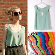 2015 Korean Fashion Womens Slim Chiffon Tops Sleeveless Shirt Casual Blouse Vest