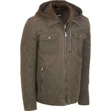 Black Rivet Mens Antiqued Cotton Jacket W/ Hood