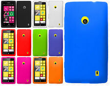 Nokia Lumia 520 GoPhone Rubber SILICONE Soft Gel Skin Cover + Screen Protector