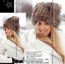 New Beanie Fur WIG hat shapka cap RANCHED Russian raccoon natural & black colors