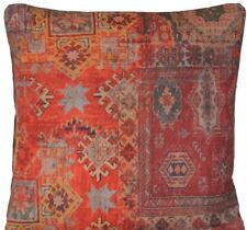 Red Rug Printed Cushion Cover Oriental  Kilim Pillow Throw Case Cotton Rusty