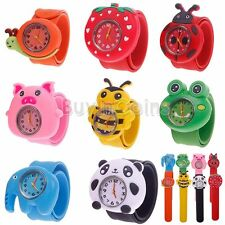 Cartoon Children Kid Quartz Sports Slap On Bendable Rubber Strap Wrist Watch